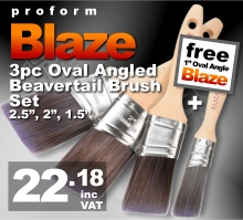 Proform Blaze 3pc Oval Angled Beavertail Paint Brush Set