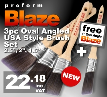 Proform Blaze 3pc Oval Angled USA Style Paint Brush Set