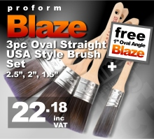 Proform Blaze 3pc Oval Straight Paint Brush Set