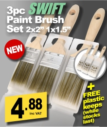 3pc Pioneer Swift Synthetic Paint Brush Set +FREE KEEPS