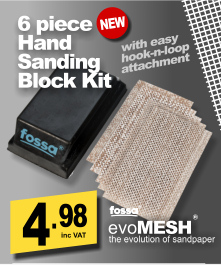 Fossa Sanding Block Kit 70x125mm with 5 x evoMESH sheets