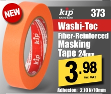 Kip Washi-TEC Fiber-reinforced Fineline Masking Tape Orange 373