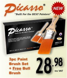 Proform Picasso 3pc Paint Brush Set + Free Bull (PIC1-2, PIC1-3, PIC11-1.5, PIC5-1.5)