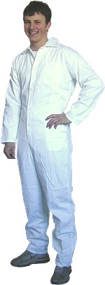 Boiler Suits - White Cotton drill.