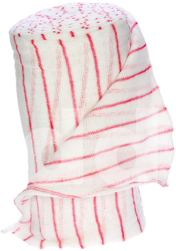 Bleached White / Red Striped Cotton Stockinette