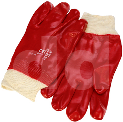 PVC Gloves - Red knitted wrist fully coated