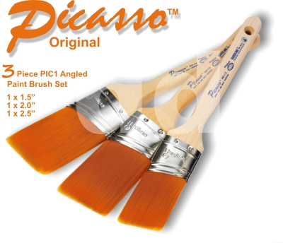 Proform Picasso 3 Piece PIC1 Angled Paint Brush Set (1x1.5 1x2 1x2.5)